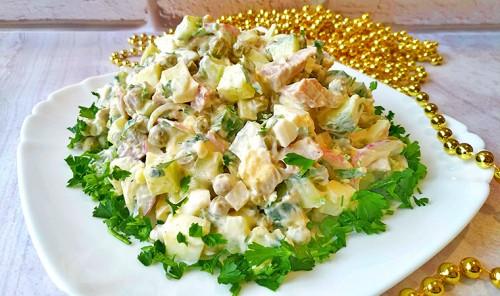 Салат с языком, яйцами и зеленым горошком
