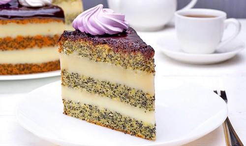 Торт с маковым бисквитом и заварным кремом