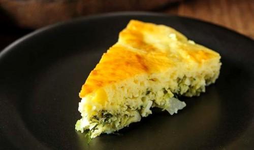 Заливной пирог на кефире с капустой и яйцом
