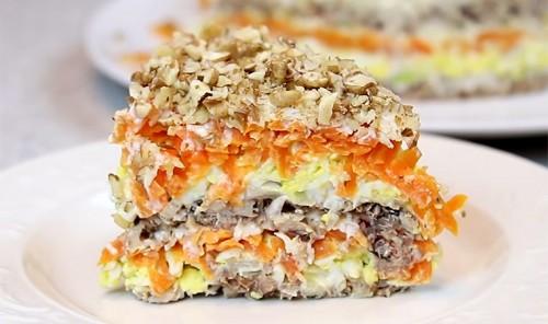 Слоеный рыбный салат «Полтавский»