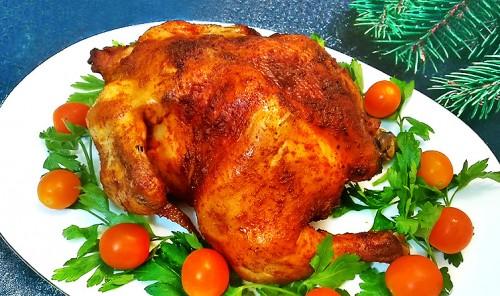 Курица, запеченная целиком в рукаве в духовке
