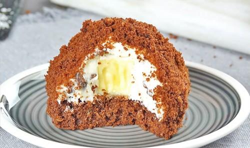 Шоколадные пирожные с бананом «Норка крота»
