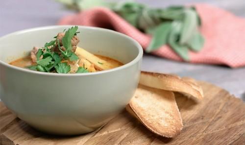 Суп с уткой и печёным картофелем