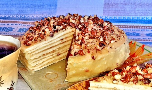 Торт с заварным кремом на сковороде