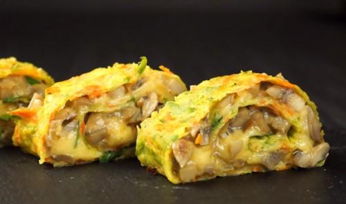 Рулет из кабачков с грибами и сыром