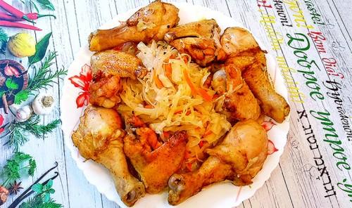 Курица с капустой в рукаве в духовке
