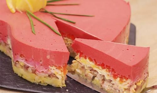 Селедка под шубой в виде торта