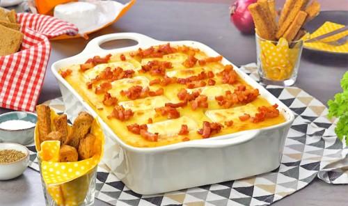 Запеканка-фондю с фаршем, сыром и картофелем
