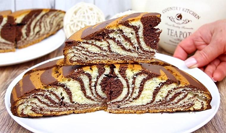 Пирог на молоке «Зебра»