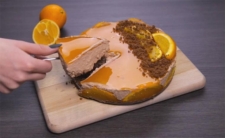 Апельсиновый чизкейк без выпечки