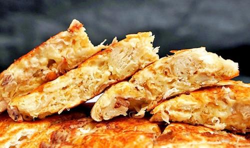 Ленивая ачма из лаваша с курицей и сыром