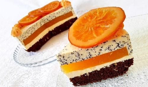 Муссовый торт с апельсинами и маком