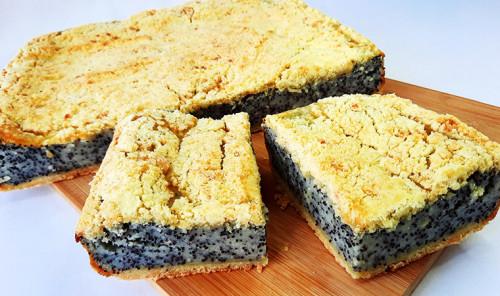 Насыпной пирог с творогом и маком