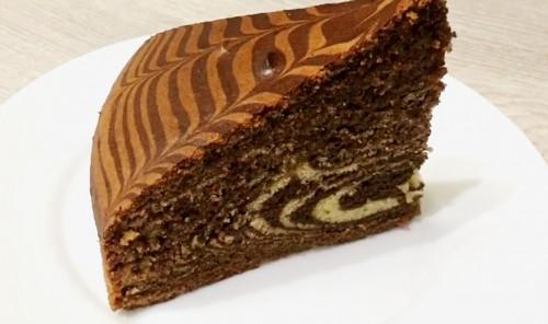Сметанно-шоколадный пирог «Зебра»