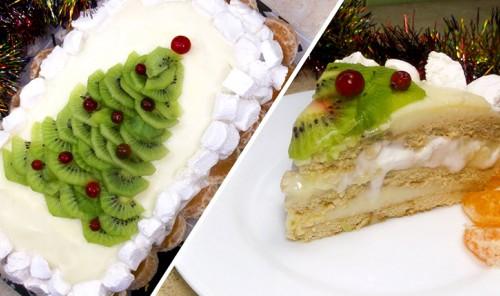 Новогодний торт из печенья без выпечки