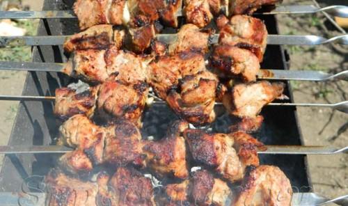 Шашлык из свинины в кефирном маринаде