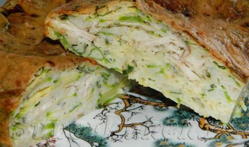 Киш из кабачков с мясом и сыром