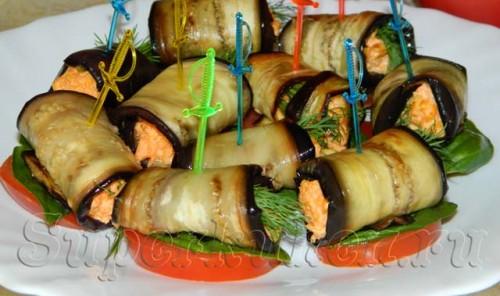 Закусочные рулеты из баклажанов