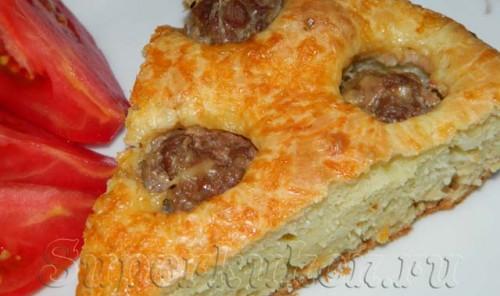 Заливной пирог с мясными фрикадельками