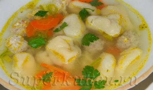Суп с сырными ушками