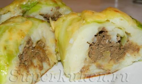 Рулет капустный с картошкой и печенью