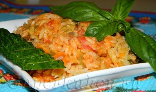 Рис с овощами, приготовленный без воды