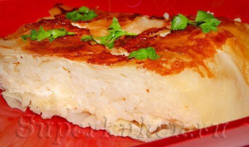 Капустная запеканка с рисом и сыром